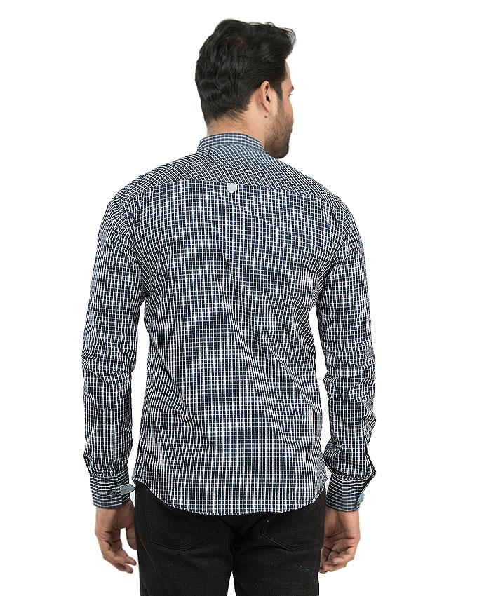 Navy Blue Cotton Casual Shirts For Men