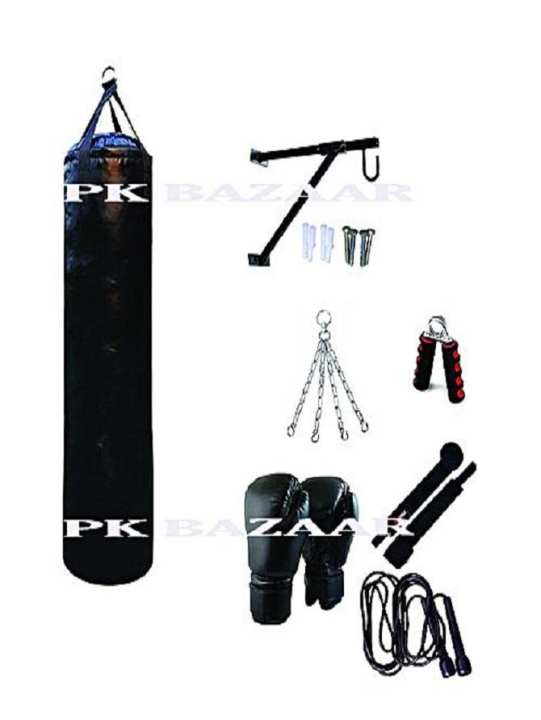 pack 7 punching bag wall stand boxing gloves bandage jumo rope