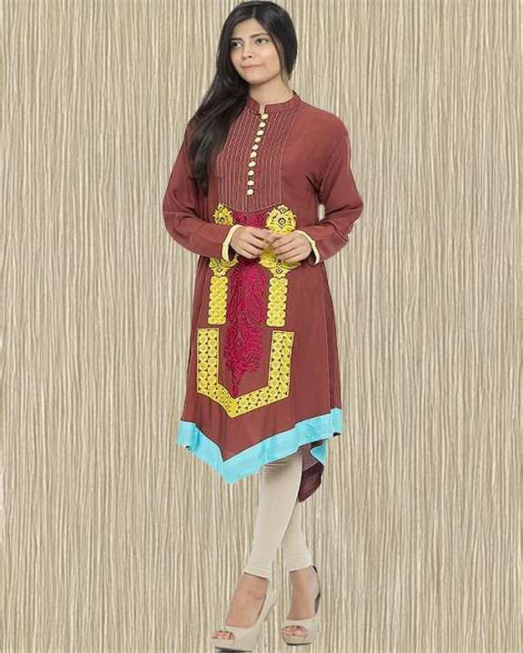 Brown Malai Lawn Front Pleats & Embroidery With Arrow Bottom Kurta For Women