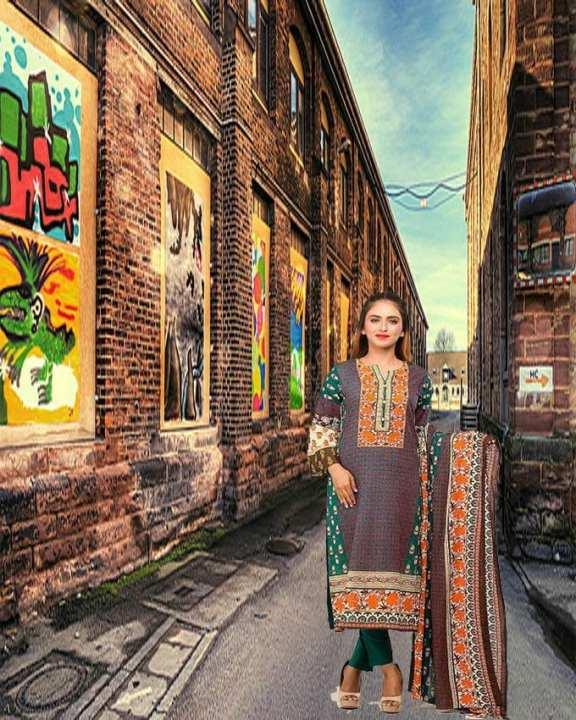 Multicolor Printed 3Pcs- Unstitched  Lawn For Women
