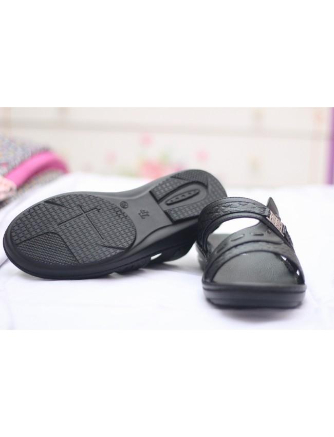 Black Handmade Slippers For Men