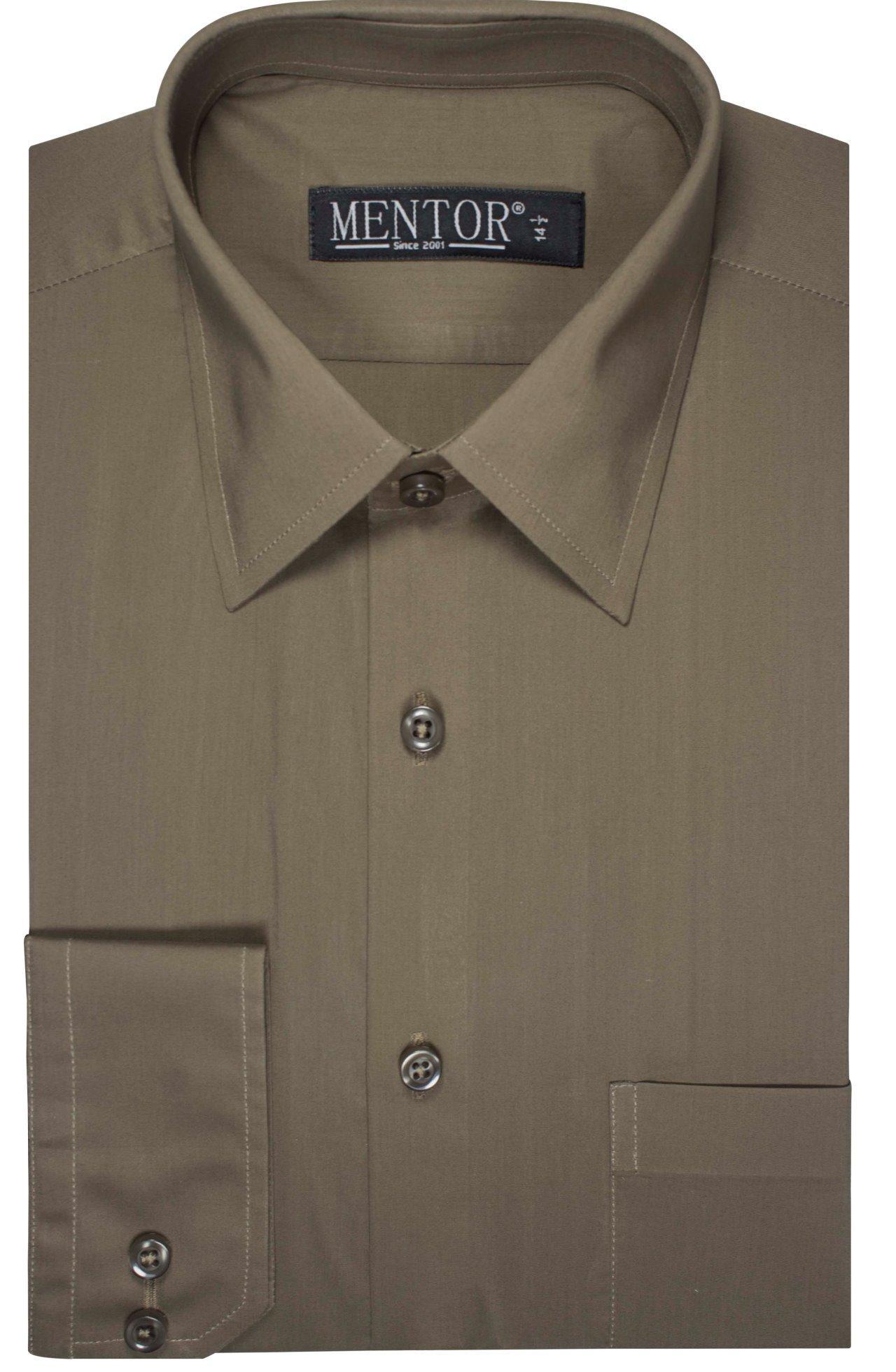 Mentor Dark Green Plane full sleeve Dress Shirt