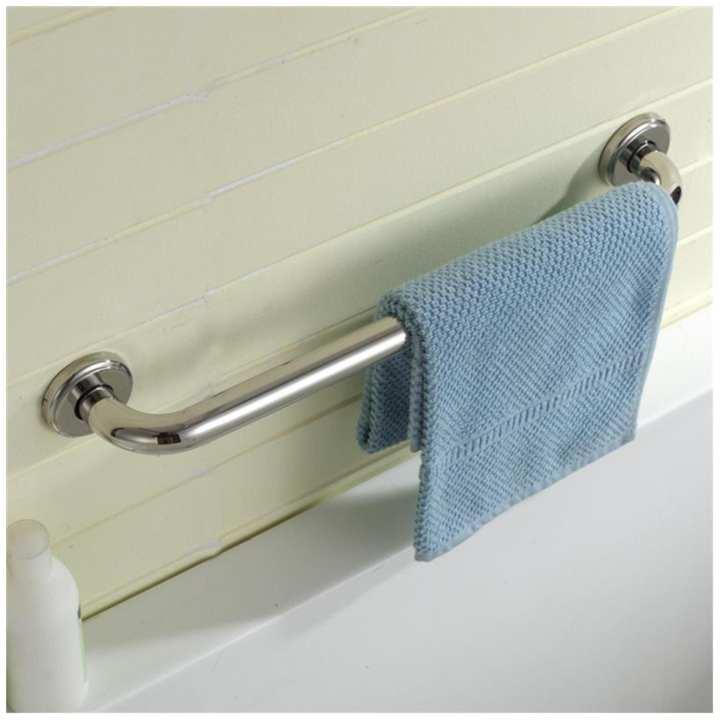 Stainless Steel Wall Mounted Towel Rack Bathroom Storage Rail Shelf Holder