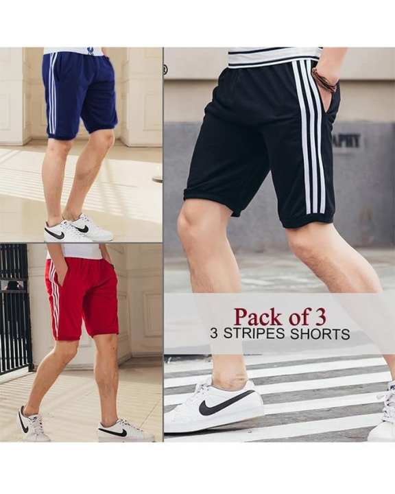 Pack Of 3 Stripes Shorts For Men - ABZ-2266 FREE SIZE
