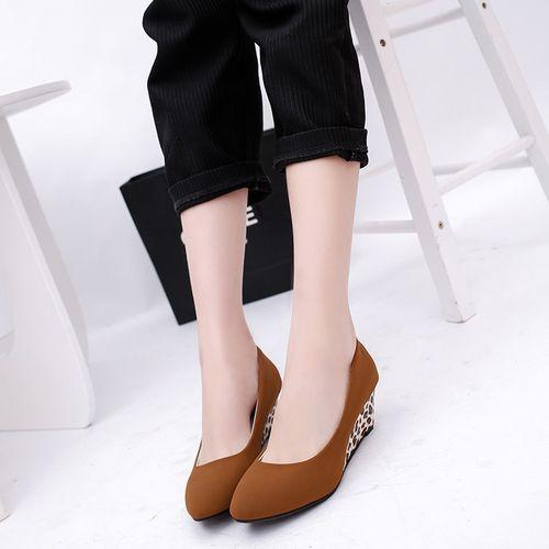 526208bf268d Women Wedges Pumps Korean Flock Shallow Casual Shoes Plus Size (Black)  Buy  Online at Best Prices in Pakistan