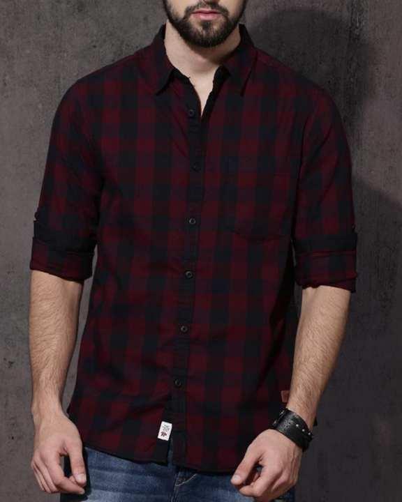 Men Red & Black Regular Fit Checked Casual Shirt For Men