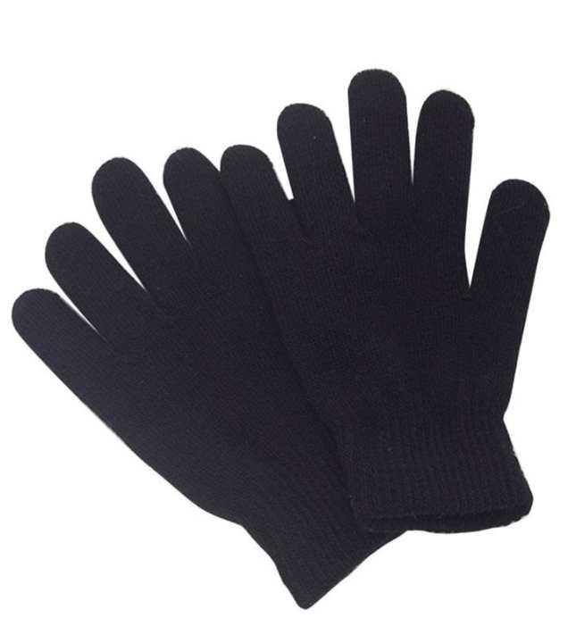 1 Pair Wool Winter Gloves for Men and Women-Black