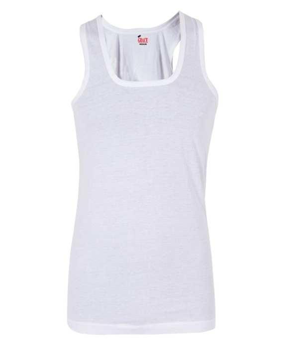 White Knitted Cotton Plain Vest for Men