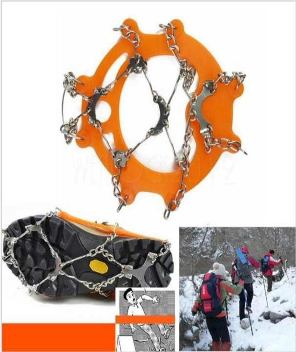 Ice Cleat Shoe Boot Tread Grips Traction Crampon Chain Spike Snow Pouch Carabiner