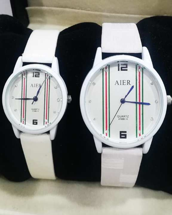 White Leather Watch For Women