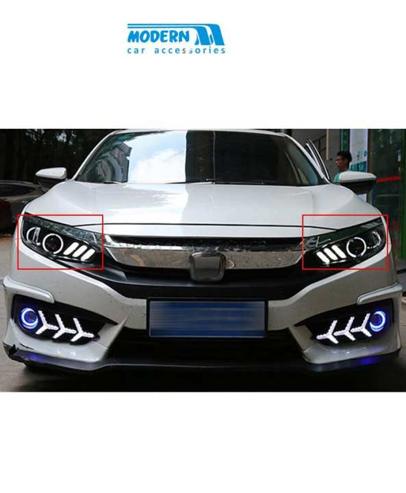 Honda Civic Mustang Style Headlights - Model 2016-2017