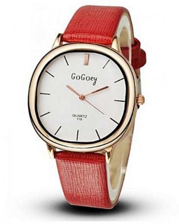Red Leather Analog Watch for Women