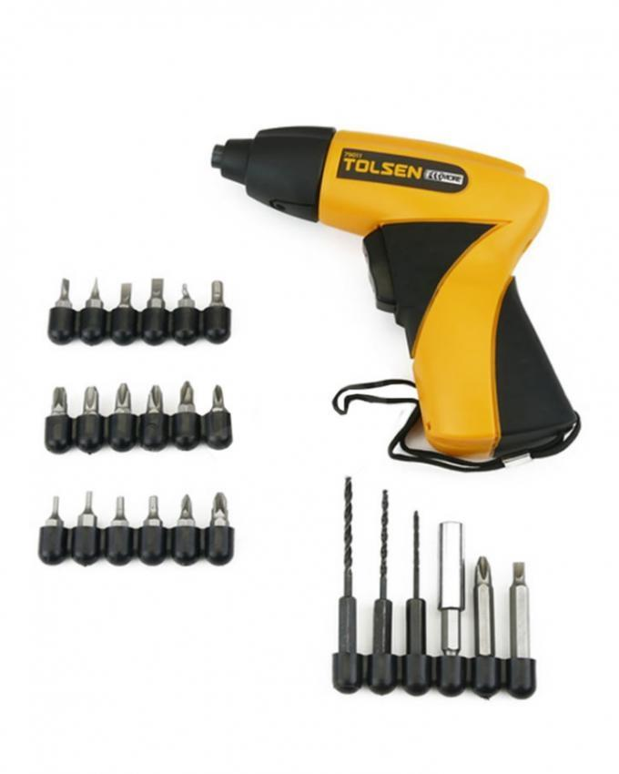 Cordless Electric Screwdriver with 24 Accessories - Black & Yellow