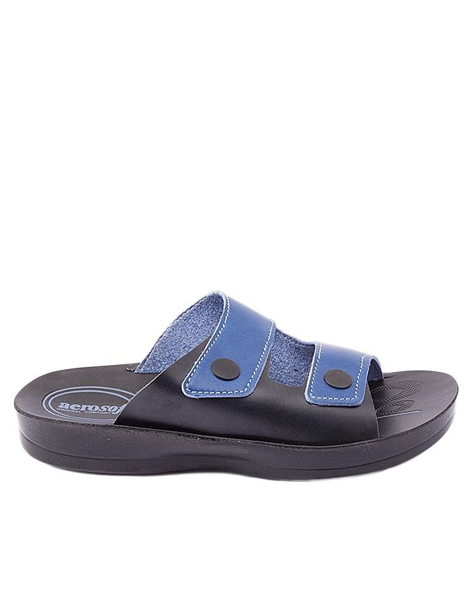 Blue Synthetic Leather Slippers For Men