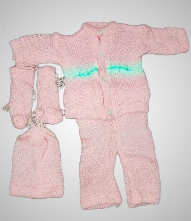 New Born Baby Warm Woolen Dress Set