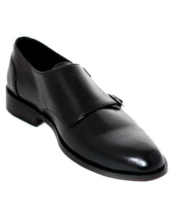 Black Leather Double Monk Slip-Ons For Men
