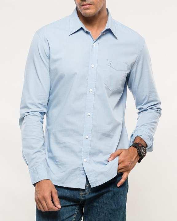 Light Blue Cotton Woven Shirt for Men