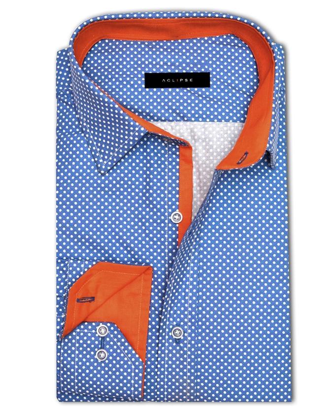 ACLIPSE - Royal Polka Printed Shirt with Orange Trims