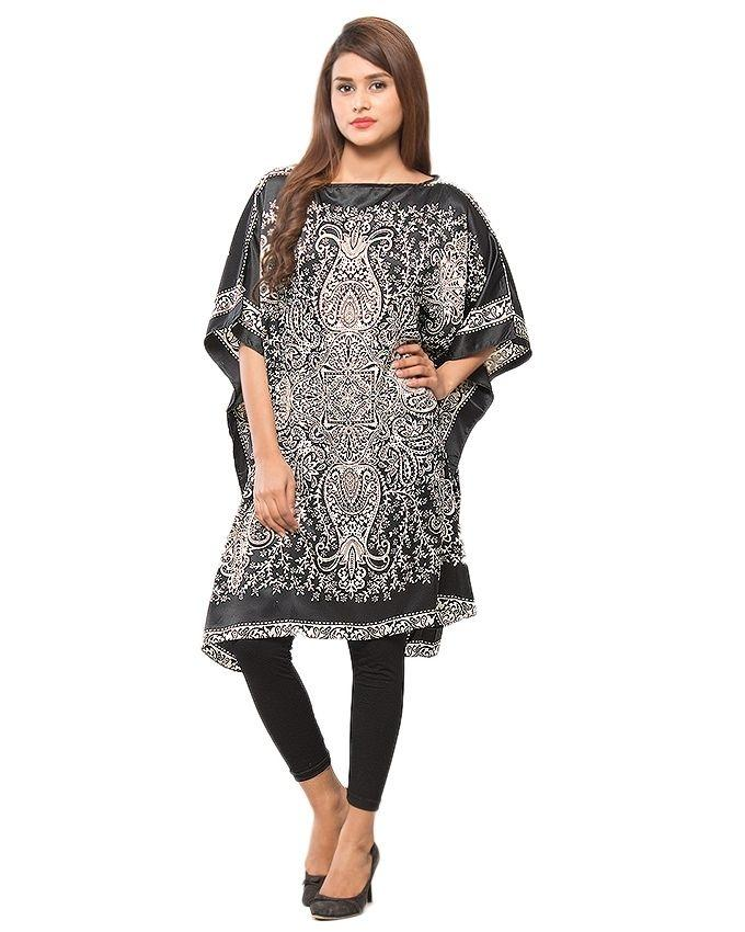 Black & White Polyester Printed Dull Satin Poncho for Women - PON09-01