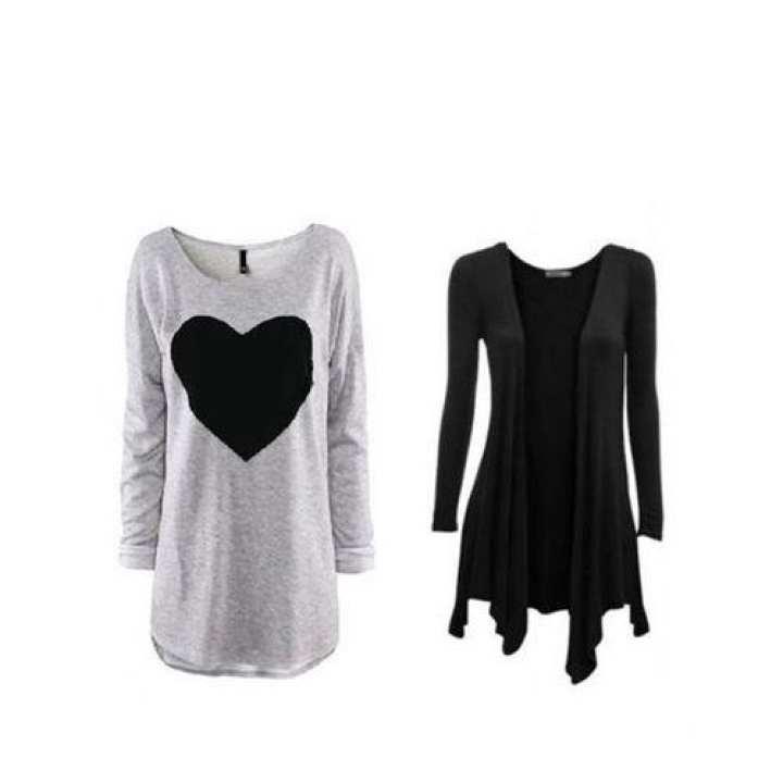 Pack of 2 - Heart Printed T-Shirt & Shrug
