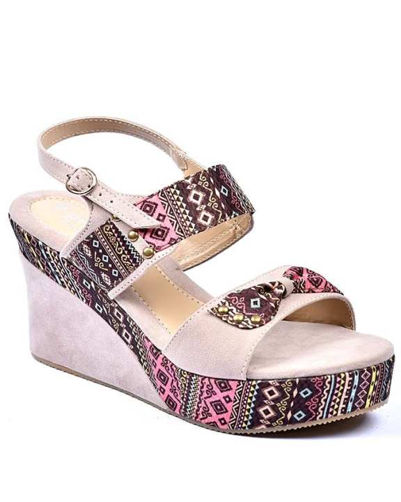 Multicolor Synthetic Leather Wedges for Women