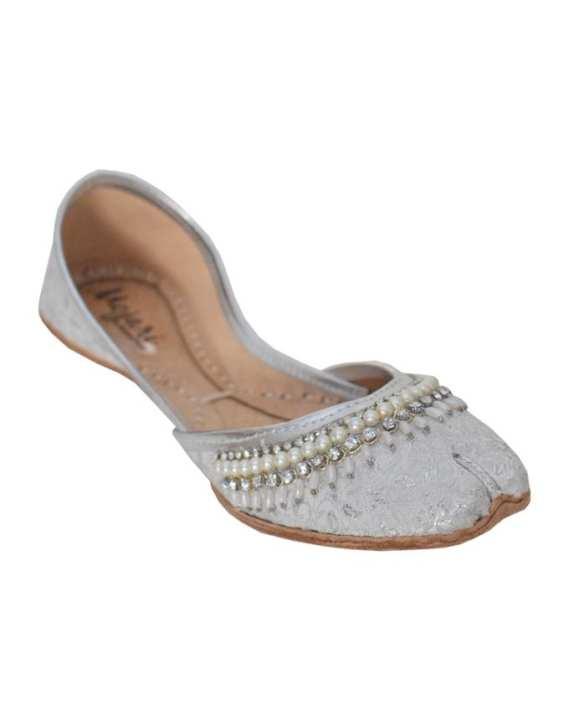 Mojari - Silver Zari Leather Khussa For Women