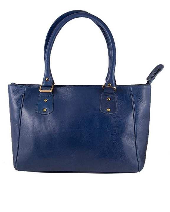 Blue Leather Handbag For Women