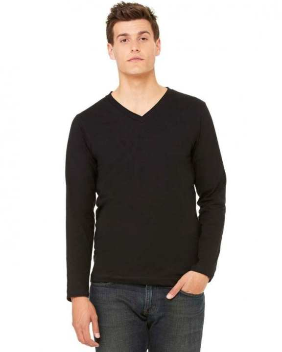 Plain V-Neck Long Sleeve T-Shirt For Men - Black