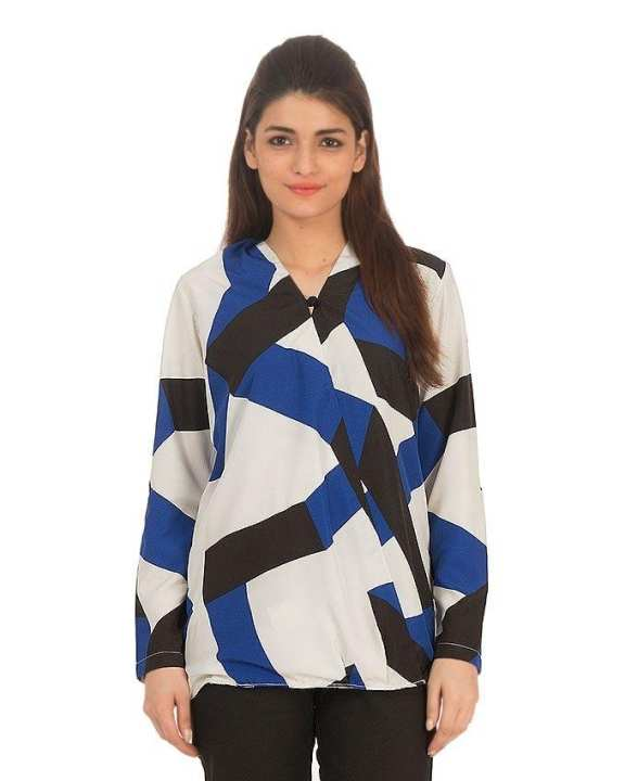 Blue & White Satin Abstract Printed Top with Long Sleeves for Women - Comfort-fit -
