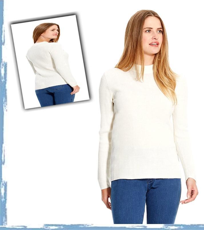 White Cotton Lycra High Neck Sweatshirt For Women