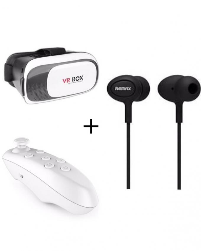 2nd Generation VR Box 2.0 with Bluetooth Remote & Remax 515 Handfree - Black