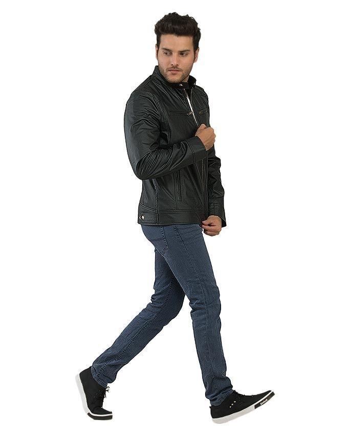 Black Slim Fit Leather Jacket For Mens