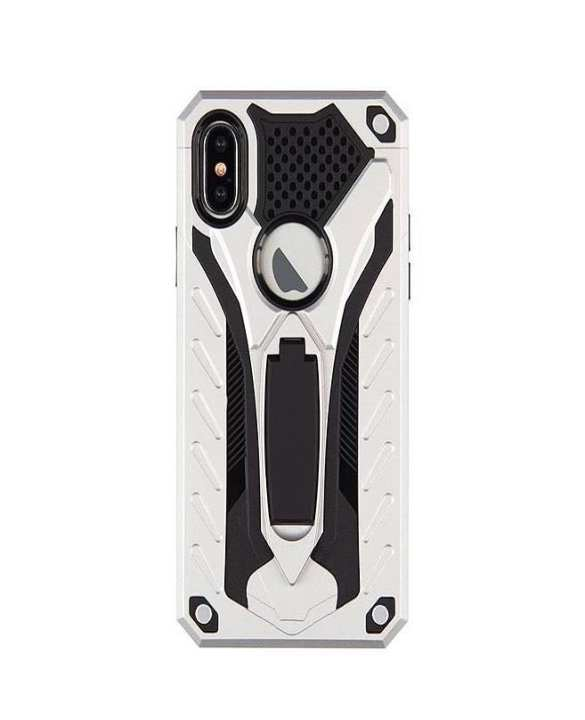 Oppo F5 Armor hybrid kick stand high quality cover Silver