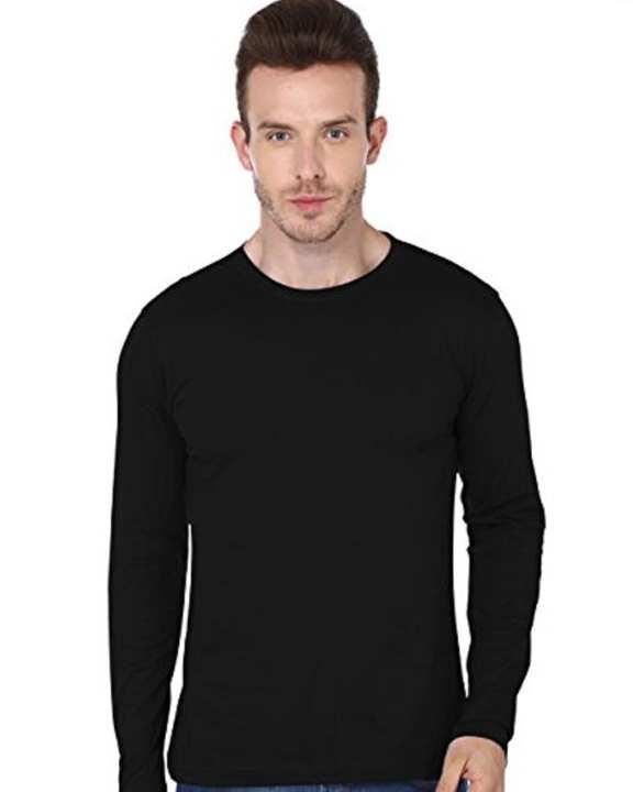 Black Plain Full Sleeves Round Neck Cotton T-Shirt For Men