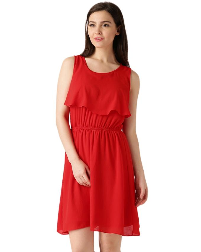 Red Chiffon Casual Dress for Her