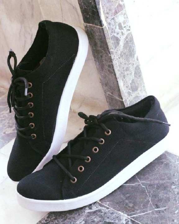 Black Canvas Stylish Sneakers For Men