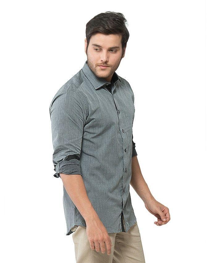 Dark Grey Cotton Shirt for Men