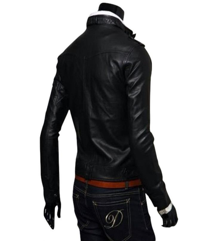 Black Leather Jacket For Men - T-4