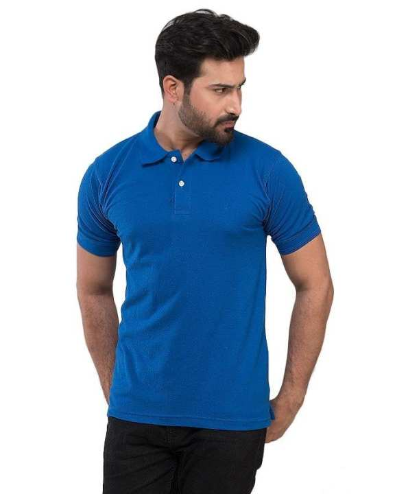 Royal Blue Cotton Polyester Polo T-Shirt For Men