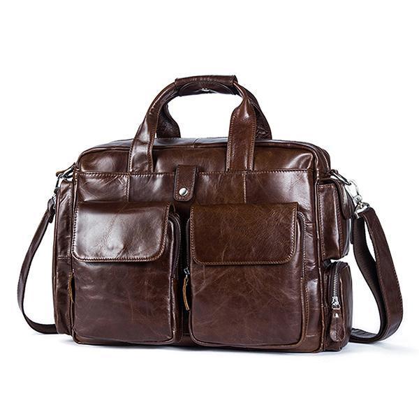 14 inches Genuine Leather Vintage Handbag Briefcase Casual Business Crossbody  Bag Laptop Bag for Men - 77b2c26a92