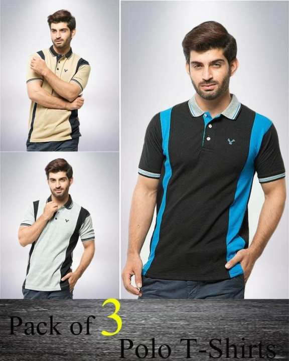 Pack of 3 Multicolour Polyester & Cotton Polo Shirt for Men