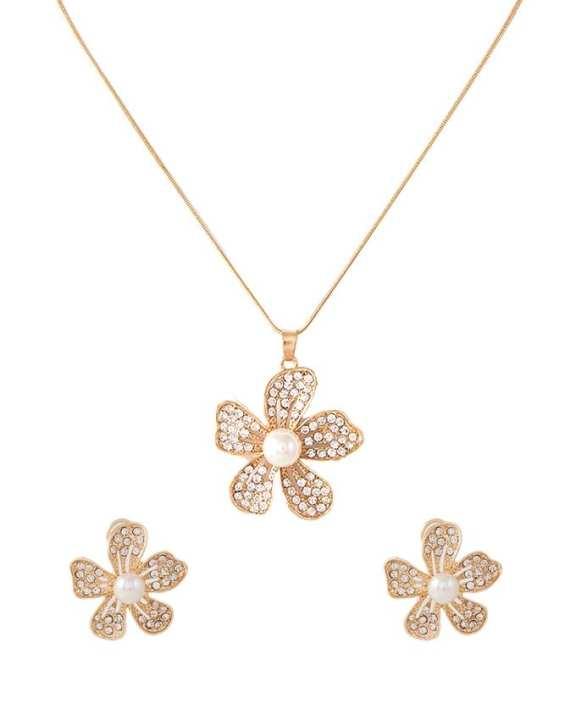 Rose Gold Plated Pearl Flower Pendant Set for Women - J-092