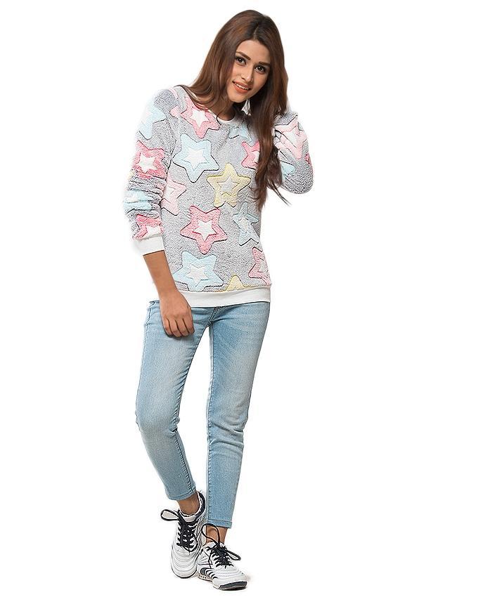 Grey Polyester Elastic Stars Desing Sweater for Women - UBB056