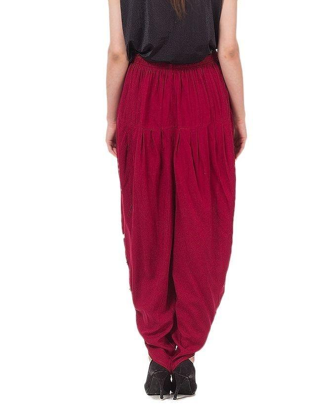 Maroon Boski Tulip Pant With Pearls For Women