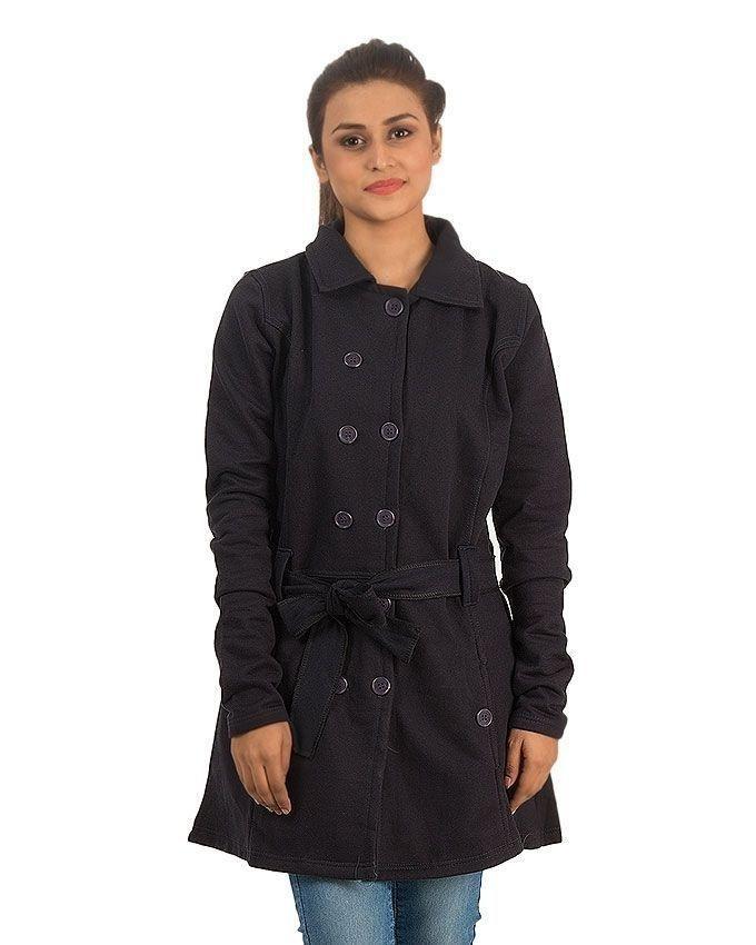 Black Fleece Coat For Women