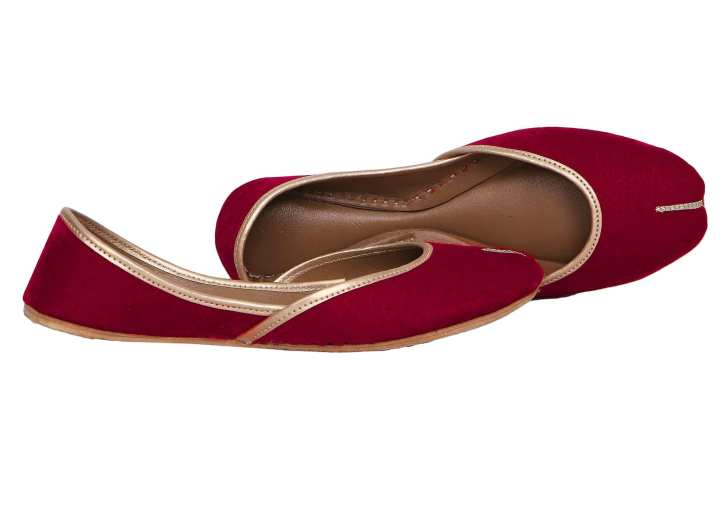 Pink Velvet Leather Khussa For Women