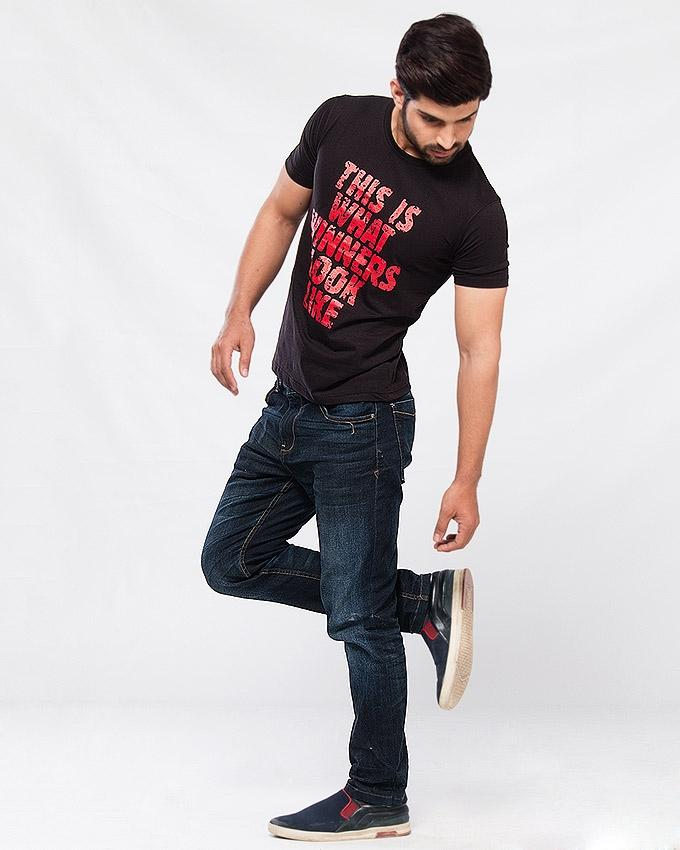 Black Jersey Graphic Printed Tshirt for Men