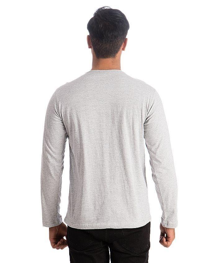 Heather Grey Cotton V-Neck Full Sleeves T-Shirt For Men