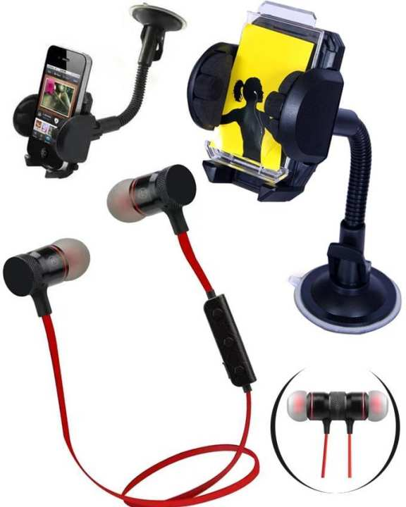 Pack of Wireless Earphone and Car Mobile Holder