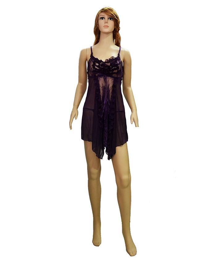 Purple Lace Short Nighty - 8130Pp